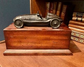 "$295 Vintage Maitland-Smith Gentleman's desk box with metal racing car 8.5""H x 7""D x 13""W"