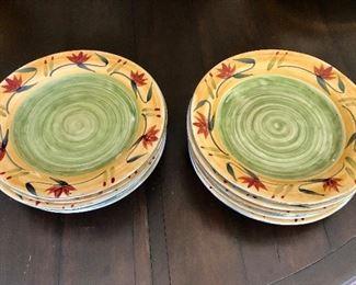 "$95 Pier 1 hand painted stoneware ""Elizabeth"" pattern. 12 dinner plates 11.25""D"