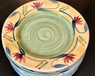 "$50 Pier 1 hand painted stoneware ""Elizabeth"" pattern. 10 salad plates 8""D"