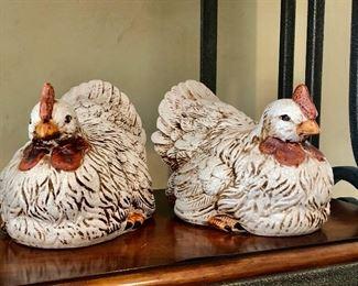 "$60 pair Mark Roberts ""Sitting Hens"" 6""H"