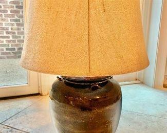"""$120 Cermamic glazed urn lamp 30.5""""H"""