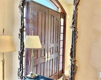 "$995 Large Gold Leaf mirror with leaf trellis accents. 57.25""H x 39""W"