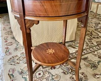 """$325 Round inlayed side table with 4 drawers. 28.25""""H x 21.25""""D"""