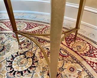 """Detail: Round hand knotted rug 6'2""""D"""