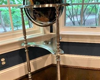 """$695 Globe with stand;  Countries are depicted in stone (turquoise, agate, etc). 38""""H x 19""""D"""
