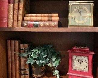 "Books - Red wood shelf clock 8.5""H"