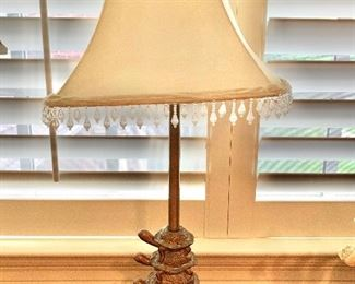 """$75 Turtle table lamp with shade; 29.5""""H"""
