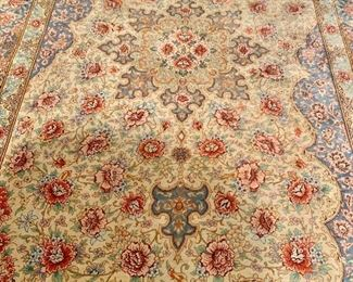 Detail: hand knotted silk rug