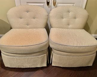 """$700 Pair Hickory White arm less swivel chairs with spring down seats and pleated skirt and tufted backs.  Reupholstered. 33""""H x 37""""D x 31""""W"""