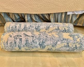 """$250 Pair blue and white toile fabric, down filled bolsters (2 available) 37""""L x 9""""D"""