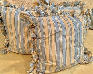 """$150 for three blue and yellow striped down-filled pillows 24"""" square"""