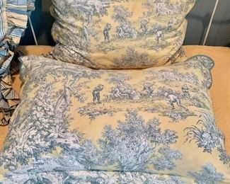"""$120 Pair of blue and yellow toile fabric, down pillows 31""""W x 22""""H"""