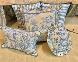 $195 Set of 5 toile and gingham checked custom pillows