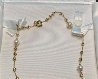 """$1,295 Triadra pearl necklace, approx 16"""".  18K and pearl station necklace.  Gold chain enhanced with 5 dimodolo triad pearls, each approx 7 mm."""