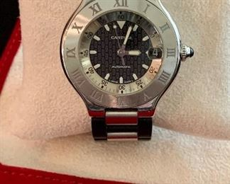 $1295 Men's Cartier Must 21 (2427) Autoscaph stainless steel 36mm watch with date complication.   Very good condition.