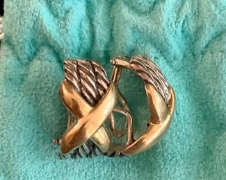 """$195 Pair sterling silver and 18K clip earrings.  Silver Rope design with gold """"x"""".  """"925"""" and """"18K"""" stamped on reverse."""