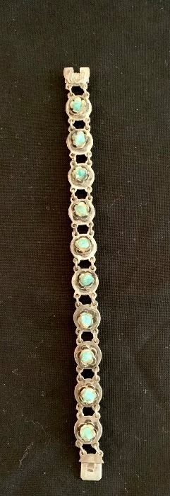 $40 Silver and turquoise bracelet with slide clasp.  Stamped 925.