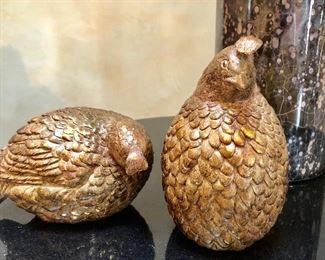 "$20 Decorative quails 6.5""H, 3.5""H"