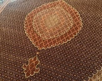 Detail:  Tabriz Rug hand woven.  Made in Iran.