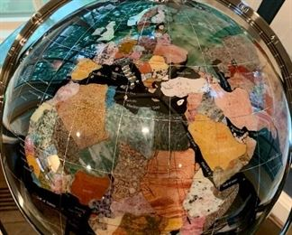 Detail: Standing Globe.  Countries depicted with natural stone.