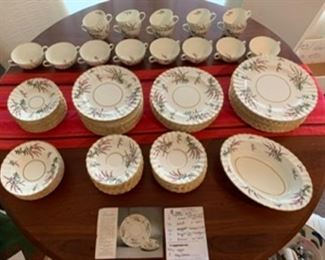 $250.  Royal Worcester. Dunrobin. Purple heather on cream with gold edges. No chips, stains or cracks. 88 pc.