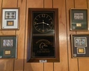 Ducks unlimited wall clocks. Ducks unlimited framed stamps.