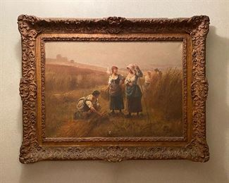 Framed Victorian Oil on Canvas painting by French painter, Pierre Testu