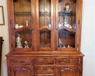 Ethan Allen China Cabinet with glass shelves, lighted, silverware drawer plus 3 more drawers and 2 lower doors with shelves. $325 OBO