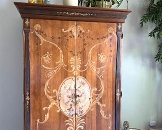 "Large hand-painted armoire 4'4"" wide x 6'9"" tall x 2'3"" deep, Italian made by Turazza"
