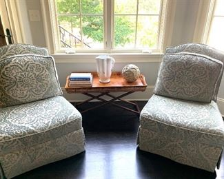 Pair of matching armless chairs