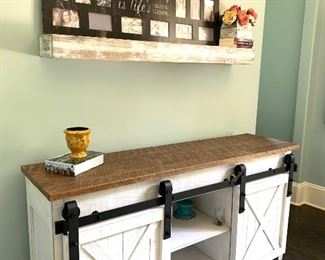 """Barn door console table/cabinet, approx 5'6"""" wide"""
