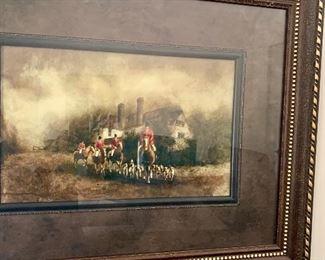 Hunt scene framed print