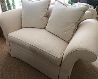 """Schumacher Ivory Loveseat (68"""" x 36"""") - attached back, single-seat cushion and 2 pillows - $650"""