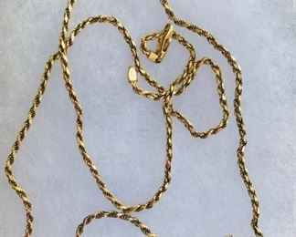"""14k gold 20"""" rope neck chain"""