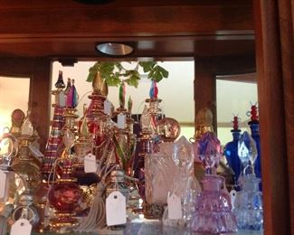 Collection of perfum bottles (many made in Egypt)