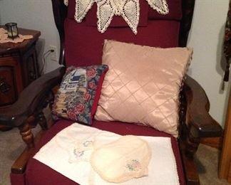 Vintage rocker/ recliner, decor pillows and vintage dresser scarves