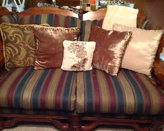 Love seat, throw and pillows