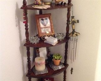 Wooden four shelf corner unit and lots of decorative items