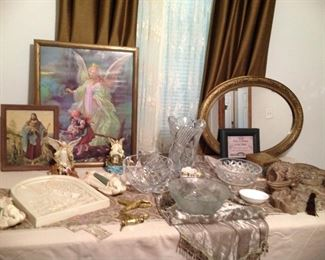Many Guardian angel items, oval mirror, crystal bowls, table runners, very heavy crystal vase