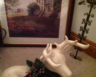 Framed, matted print, large cross and Christmas ready deer
