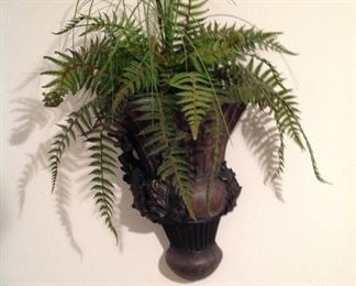 Wall hung planter with faux ferns