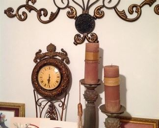 Wall clock, wall art, candleholders and candles, framed and matted prints, vintage vases and figurines