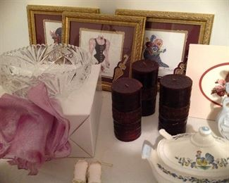 Crystal bowl, framed and matted prints, pillar candles, vintage mini tureen with ladel