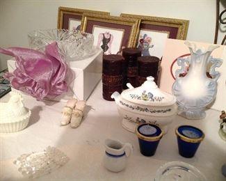 Hen and nest,  vintage creamer, colbolt blue votive holders, vintage mini tureen