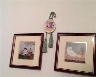 Framed and matted cat prints, tassel and mini plate with hanger