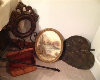 Vintage oval framed print, large metal leaf, wooden mini chest, fleur de Lis rod