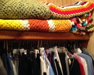 Hand crocheted afghans, men's clothes