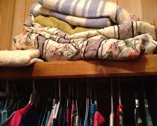 Vintage blankets, king size bedspread, ladies clothes ( including uniforms and night clothes