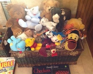 Larger rattan chest full of stuffed animals (including Beannie babies
