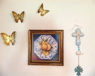 Metal butterflies, framed picture crosses